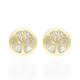 9K Yellow Gold Mother of Pearl Tree of Life Stud Earrings (With Push Back)
