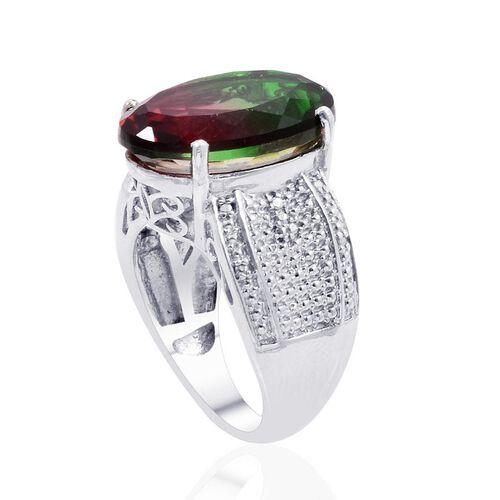 Bi-Colour Tourmaline Quartz (Ovl) Solitaire Ring in Platinum Overlay Sterling Silver 11.000 Ct.