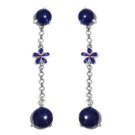 GP Lapis Lazuli (Rnd), Kanchanaburi Blue Sapphire, Rhodolite Garnet Dangle Earrings in Platinum Overlay Sterling Silver Earring  13.000  Ct.