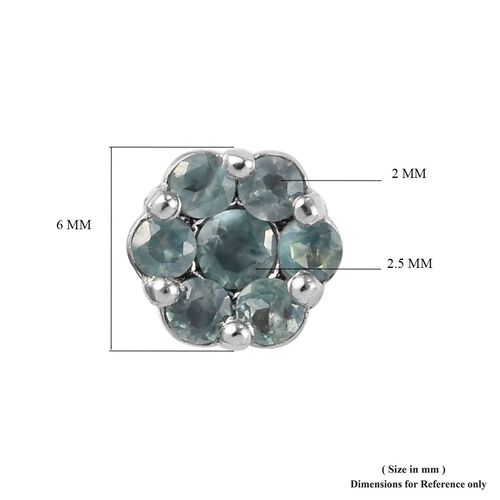 Alexandrite (Rnd) Floral Stud Earrings (with Push Back) in Platinum Overlay Sterling Silver