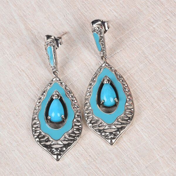 Arizona Sleeping Beauty Turquoise Enamelled Earrings (with Push Back) in Platinum Overlay Sterling Silver 1.50 Ct, Silver wt 7.63 Gms