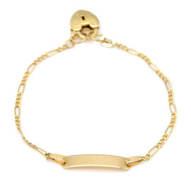 Italian Made - 9K Yellow Gold Figaro ID Bracelet (Size 6.5) with Padlock