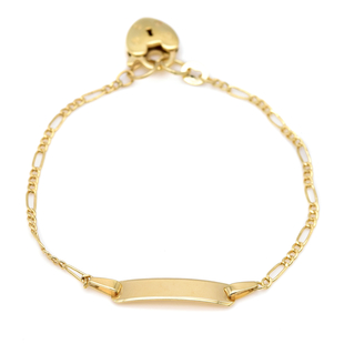 Italian Made - 9K Yellow Gold Figaro ID Bracelet (Size 6.5) with Padlock