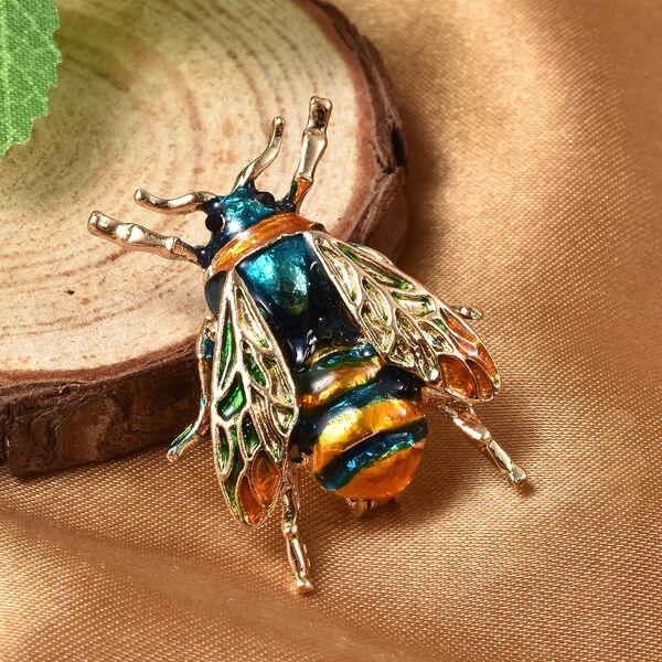 Black Austrian Crystal Enamelled Bee Brooch in Gold Tone