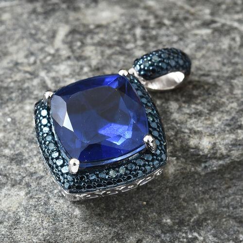 Ceylon Colour Quartz (Cush 8.15 Ct), Blue Diamond Pendant in Platinum and Blue Overlay Sterling Silver 8.250 Ct