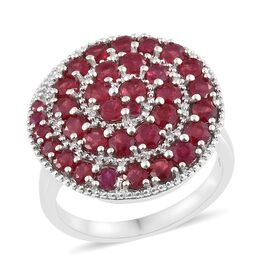 African Ruby (Rnd) Swirl Ring in Platinum Overlay Sterling Silver 4.000 Ct. Silver wt 8.61 Gms.