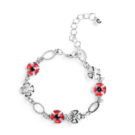TJC Poppy Design - Black and White Austrian Crystal Enamelled Bracelet (Size 8.5 with Extender) in S