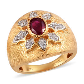 GP AA African Ruby and Natural Cambodian Zircon and Blue Sapphire Ring in Spl Brushed Effect 14K Gol