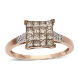 9K Rose Gold SGL Certified Natural Champagne and White Diamond (I1-I2/G-H) Ring 1.00 Ct.