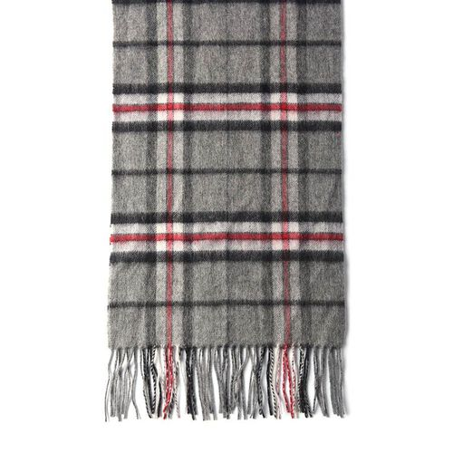 Plaid Pattern 97% Wool Scarf with Fringes (Size 30x170+8cm) - Grey and Red