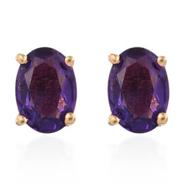 Amethyst (Ovl) Stud Earrings (with Push Back) in 14K Gold Overlay Sterling Silver 1.500 Ct.