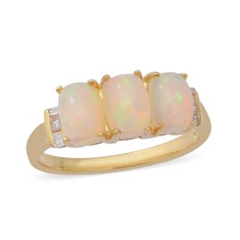 1.98 Ct Ethiopian Welo Opal and Diamond Trilogy Ring in Gold Plated Sterling Silver