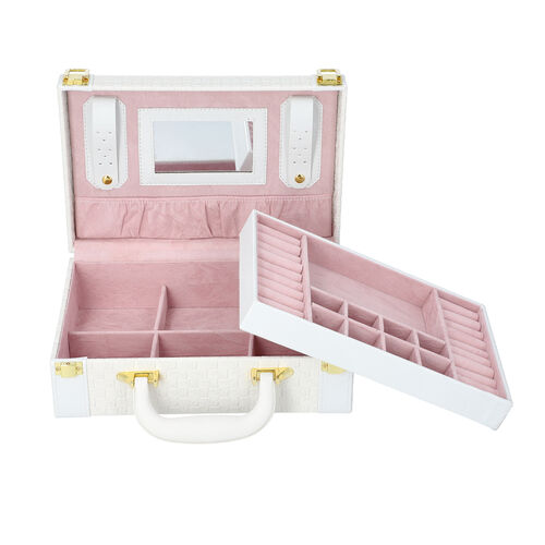 Woven Texture Briefcase Design 2-Layer Jewellery Box in White