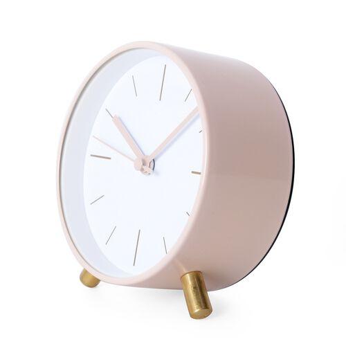 Decorative Round Shape Alarm Clock White Colour - Pink