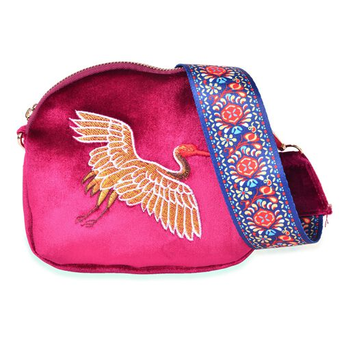 Golden and Multi Colour Flying Crane Embroidered Velvet Crossbody Bag with Colourful and Removable S