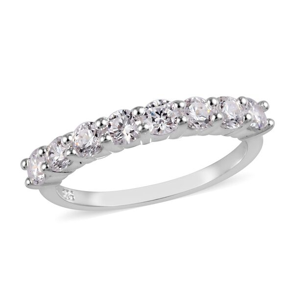 J Francis Made with SWAROVSKI ZIRCONIA Half Eternity Band Ring in Platinum Plated Silver