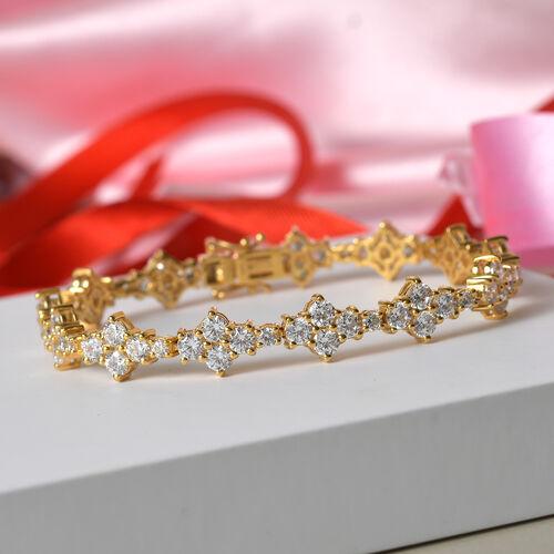J Francis 14K Gold Overlay Sterling Silver Bracelet (Size 7.5) Made with SWAROVSKI ZIRCONIA 11.96 Ct, Silver wt 13.98 Gms