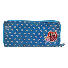 SUKRITI 100% Genuine Leather Owl Family Wallet with RFID Blocker (Size 22x10 Cm) - Light Blue