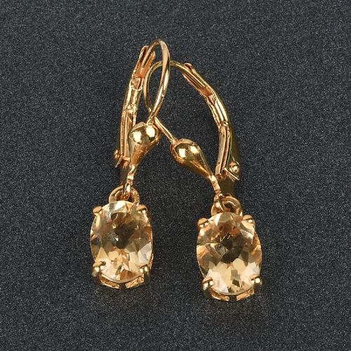 AA Citrine (Ovl) Lever Back Earrings in 14K Gold Overlay Sterling Silver 2.250 Ct.