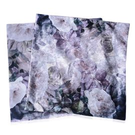 2 Piece Set - Purple and Multi Colour Cushion with White Rose Print (Size 45x45 Cm)
