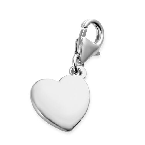 Platinum Overlay Sterling Silver Bridesmaid Gift Heart Charm