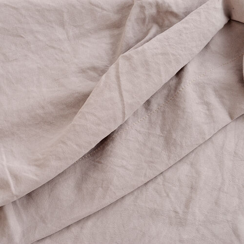 Single Size Sheet Set of 3- Extremely Soft Stone Washed Taupe Colour Fitted Sheet (190x90x30 Cm), Flat Sheet (260x180+5 Cm) and Pillow Case (75x50+5 Cm)