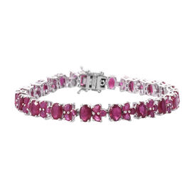 GP African Ruby (Ovl 7x5 mm), Blue Sapphire Bracelet (Size 8) in Platinum Overlay Sterling Silver 30