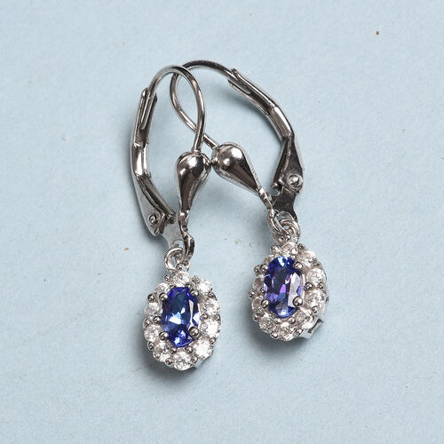 AAA Tanzanite and Natural Cambodian Zircon Lever Back Drop Earrings in Platinum Overlay Sterling Silver 1.000  Ct.