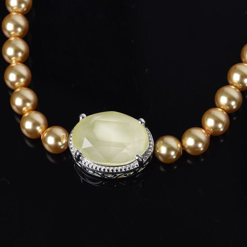 J Francis - Crystal from Swarovski Yellow Colour Crystal and Light Gold Pearl Crystal Bracelet (Size 6-7.5 with Extender) in Sterling Silver