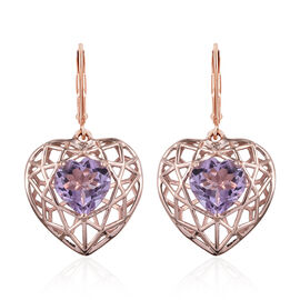GP 4.5 Ct Rose De France Amethyst and Kanchanaburi Blue Sapphire Drop Earrings in Sterling Silver 4.