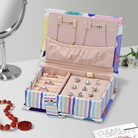 Portable Jewellery Tropical Leave Pattern Book with Magnetic Button Lock (Size:15x10x4.5Cm) - White