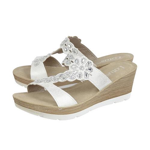 Lotus White Catania Wedge Mule Sandals (Size 6)