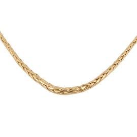 Italian Made - 9K Yellow Gold Graduated Spiga Necklace (Size 18)