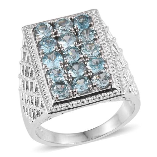Ratanakiri Blue Zircon (Rnd) Ring in Platinum Overlay Sterling Silver 5.250 Ct.