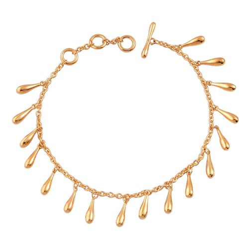 LucyQ Multi Drip Bracelet (Size 7 with 1 inch Extender) in Yellow Gold Overlay Sterling Silver 13.01 Gms.