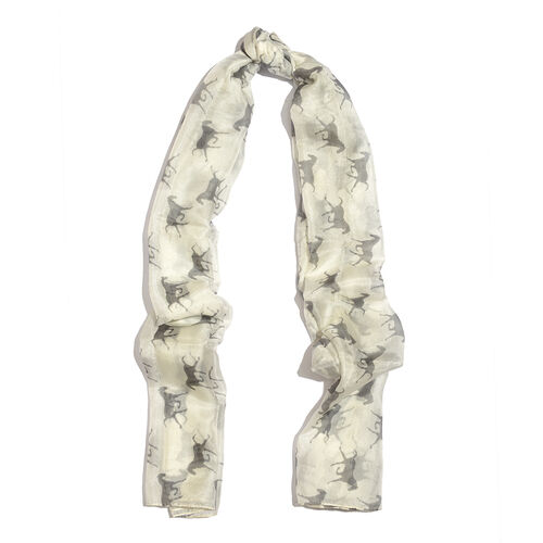 100% Mulberry Silk Black and White Colour Horse Pattern Scarf (Size 180x100 Cm)