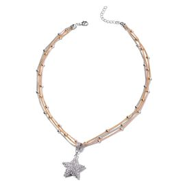 White Austrian Crystal Star Pendant with Station Chain in Three Tone 21 with 2 inch Extender