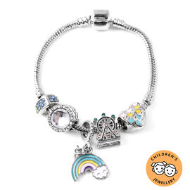 Children Charms Bracelet in Multi Colour Austrian Crystal Size 6.5 Inch with Silver Tone