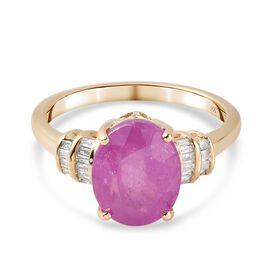 9K Yellow Gold AA Pink Sapphire and Diamond (I4) Ring 3.81 Ct.