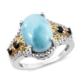 Larimar (Ovl 6.25 Ct), Kanchanaburi Blue Sapphire Ring in Platinum Overlay Sterling Silver 6.500 Ct.