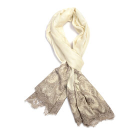 Designer Inspired- Luxury Lace Cashmere Wool and Mulberry Silk Scarf - White (Size 200X70 Cm)