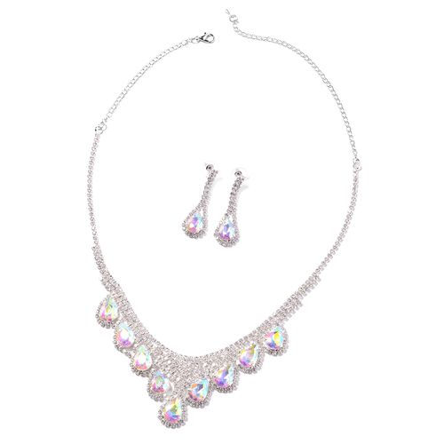 2 Piece Set - Simulated Mercury Mystic Topaz (Pear), White Austrian Crystal Necklace (Size 16 with 5