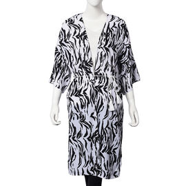 Zebra Print Midi Wrap Dress; 100% Polyester Fabric - Size S/M  - Black and White
