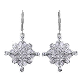 1.01 Carat Diamond Drop Cluster Earrings with Lever Back in Platinum Plated Silver 5.30 grams