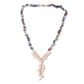 Fresh Water Pearl and Multi GemStones Beads Necklace (Size 18) in Sterling Silver 104.000 Ct.