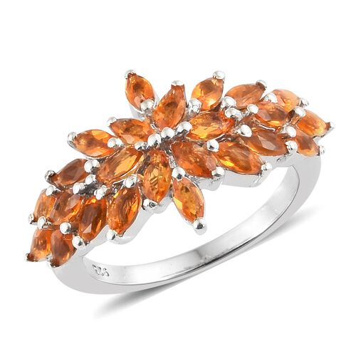 Jalisco Fire Opal (Mrq) Cluster Ring in Platinum Overlay Sterling Silver 1.250 Ct.