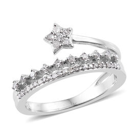 0.25 Carat Diamond Star Eternity Ring in Platinum Plated Sterling Silver 2.7 Grams