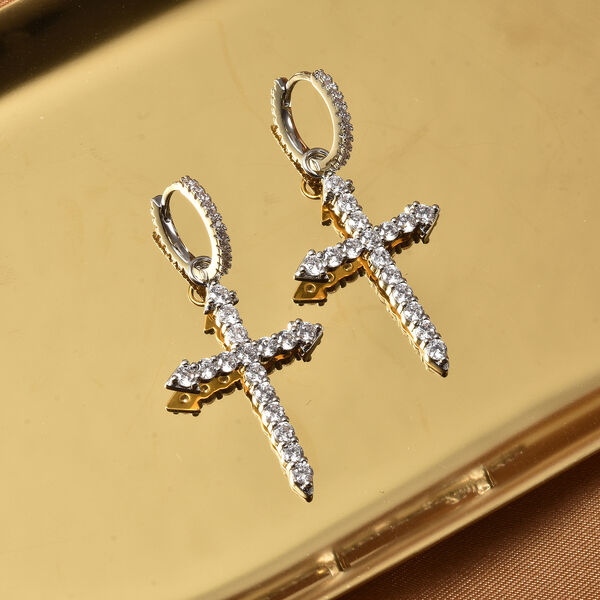 Simulated Diamond (Rnd) Huggie Hoop Cross Dangle Earrings (with Clasp) in Silver Tone