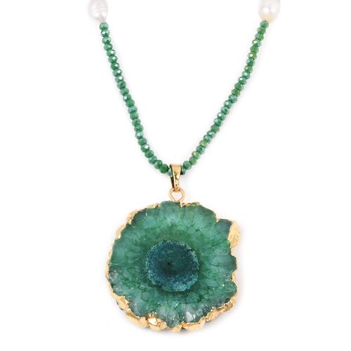 Green Agate,Simulated Emerald and Fresh Water White Pearl Necklace (Size 32) 195.000 Ct.