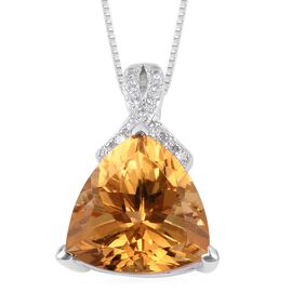 AAA Citrine (Trl 6.25 Ct), Natural White Cambodian Zircon Pendant with Chain (Size 18) in Rhodium and Platinum Overlay Sterling Silver 6.380 Ct.
